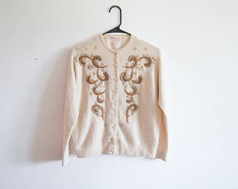 Gorgeous 1950s Beaded Cashmere Cardigan Sweater