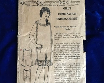 1920's Girl's Undergarment Sewing Pattern May Manton Fashion Vintage