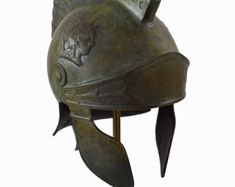 Bronze Attic Roman helmet marble based stand