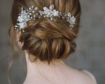 Wedding Hair Comb, Leaf Hair Comb, Bridal Hair Accessory, Flower Hair Piece, Wedding Headpiece, Silver Leaf Hair Comb, Wedding Hair Pin- GIA