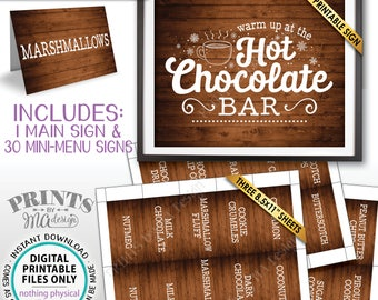 Hot Chocolate Bar Kit, Build Your Own Hot Cocoa Ingredients Labels, Winter, Fall, Instant Download Rustic Wood Style PRINTABLE Sign & Labels