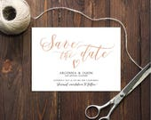 PDF Template 5x7 Save the Date Rose gold glitter INSTANT DOWNLOAD Wedding Save the date calligraphy save the date Cards Printable Digital