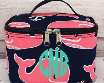 Whale Hello There Cosmetic Case With Top Lid/ Travel Bag/ Gift for Teen/ Teen Girl Gifts/ Teenage Girl Gift/ Teen Gift