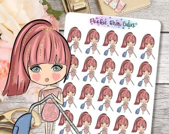 Cute Dolls- Vacuum/Clean Stickers -062