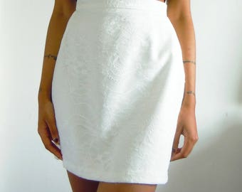 Hand Made Chantilly Lace Tailored Skirt, Tailored Skirt, White Lace Skirt, Tailored White Skirt, Lace Skirt, Ivory Lace Skirt