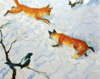 "ORIGINAL OIL PAINTING by a Soviet Ukrainian artist V.Smirnov 23,6""x23,6"", 1970 Animals painting - Foxes, Snow Winter Landscape, Genre scenes"
