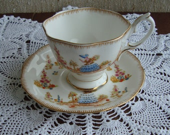 """Royal Albert Crown China """"Dainty Dinah"""" - Hand Painted Vintage Tea Cup and Saucer - Crinoline Lady with Scenic Design"""