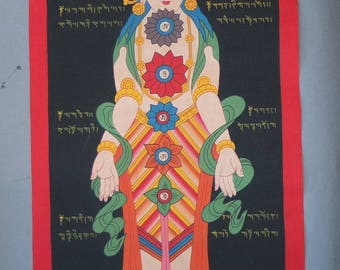 Tibetan Thangka Painting Body with Energy Points Chakras, Ceremonial Buddhist Painting Scroll on Cotton Tibet, Meditation Art, FREE SHIPPING