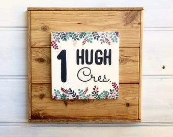 Home address sign - Housewarming gift - Custom made - Street name - House number - Hand painted Cypress wood - Family address sign - Ferns