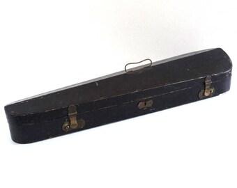 Vintage Wooden Black Violin Case with Brass Furniture - Antique Instrument Cas