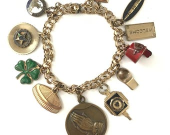 Beautiful Vintage Gold Filled Charm Bracelet // Elco Charm Bracelet // Gold Filled Charms Fobs