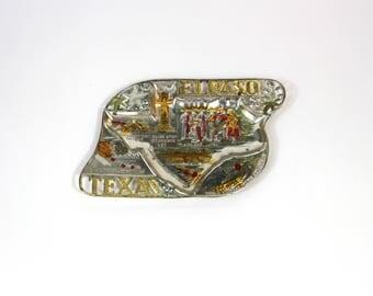 Vintage El Paso, Texas Decorative Painted Metal Ashtray, Souvenir Ashtray, El Paso Souvenir