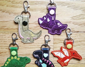triceratops, tyrannosaurus rex, pterodactyl, stegosaurus, brontosaurus SET dinosaur snap tabs - machine embroidery designs 06 09 2017