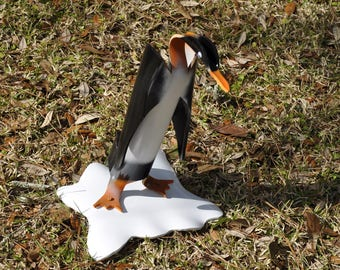 PVC Penguin Yard Art Pipe Bird Orange on Ice