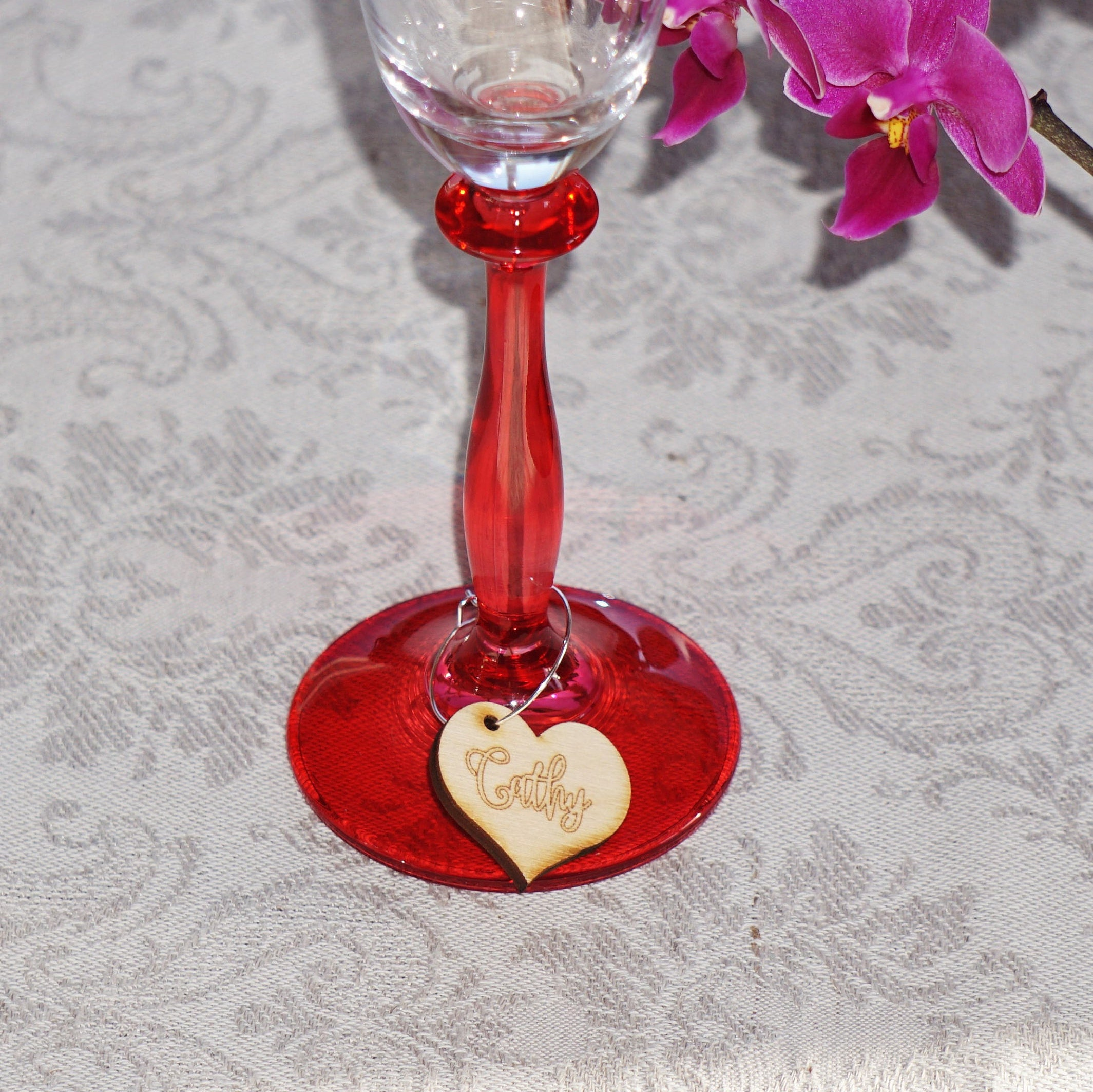 Wedding place cards wood wine charms wine charms personalized zoom floridaeventfo Gallery