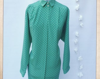 S10 Vintage CHANELLE 1970s 80s Shirt Dress Green Polkadot Day Dress Oversize Made in England Britain
