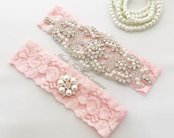 Blush Wedding Garter, blush lace garter, blush bridal garter, blush garter belt, blush Garter, bridal garter set, wedding garter,