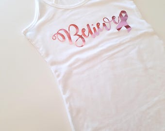 Believe Pink Ribbon Breast Cancer Awareness Racerback Tank Top, Donate to Cancer Tank Top, Race For The Cure Tank Top, Cute Workout Tank Top