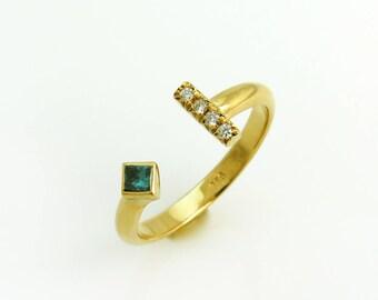 Open diamond ring, Square diamond ring, Stackable gold diamond ring, Blue diamond ring, Modern diamond ring, Open gold ring, Asymmetric ring