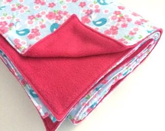 Baby blanket, snuggly blanket, pram blanket, flannel blanket, swaddle blanket, cot blanket, floor blanket, baby shower gift   Bluebird