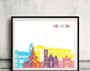 Brampton skyline pop - Fine Art Print Glicee Poster Gift Illustration Pop Art Colorful Landmarks - SKU 2397