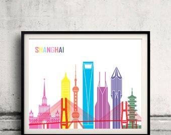 Shanghai skyline pop - Fine Art Print Glicee Poster Gift Illustration Pop Art Colorful Landmarks - SKU 2429