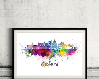 Oxford V2 skyline in watercolor over white background with name of city Poster art Illustration Print  - SKU 2753
