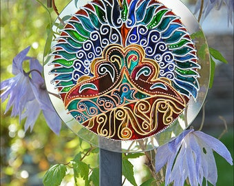Hanging Roundel Suncatcher Gift / Stained Glass Window Light Catcher / Arts & Crafts William de Morgan Peacock / Hand Painted Christmas Gift