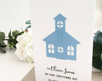 Baptism Gift for Boy, Christening Gift, Baptism Card, Christening Card, Baptism Present, Gift for Baptism Boy, Personalised Celebration Card