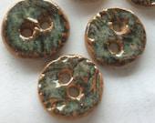 Very unusual, glossy copper green & rust 3/4 inch stoneware handmade ceramic buttons