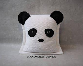 Panda pillows, quote pillow, woven throw pillow, decorative pillow, personalized pillows, monogram pillow, boyfriend gift, custom pillow