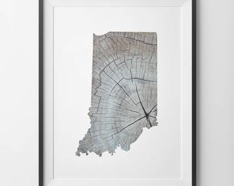 Indiana Print, Indiana Wall Art, Indiana State Print, Indiana Printable, Rustic Wood Print, Indiana Wood Print, Indiana Art, Indiana Map