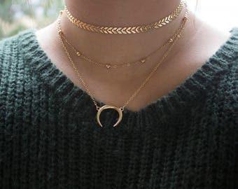 Crescent Necklace, Fishbone Choker, Satellite Choker