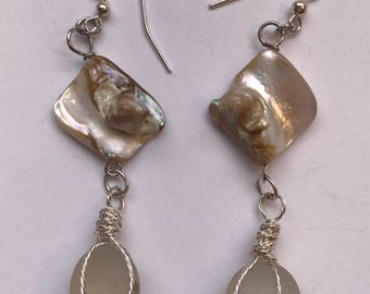 Mother of Pearl Beach Glass Marble Earrings