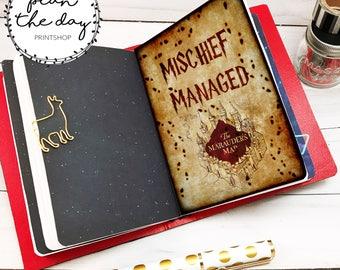 Mischief Managed Insert for Traveler's Notebook in Micro, Passport, Pocket, A6, Personal, B6, Standard, & Cashier