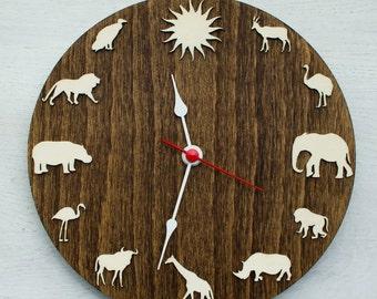 Safari Wood Clock African Animal Giraffe Elephant Lion Hippo Clock African  Home Decor Idea For Kids