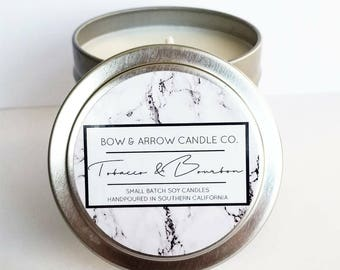 4 oz Natural Soy Candle Tobacco & Bourbon Scented | 4 oz Tin Candle | Tobacco Soy Candle | Masculine Candle | Bourbon Scented | Gift Idea