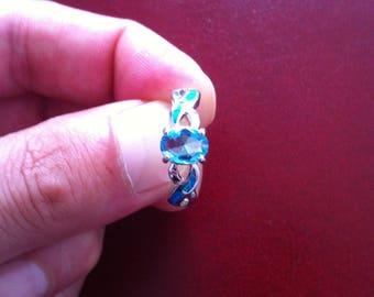 Aquamarine Gemstone Blue Fire Opal 925 sterling silver