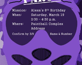 Purple Camouflage Paintball Birthday Party Invitation | Digital File | Girl Paintball Party