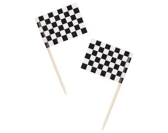 50 Racing Party Toppers - Checkered Flag - Food Pick - Cupcake Toppers - Race Car Toppers- Race car party supplies - Party Favor Decorations