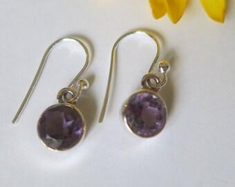 Silver amethyst earrings; 92.5 sterling silver,free shipping
