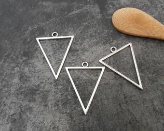 Triangle pendant, large triangle, boho, silver, pendant 35 x 22 mm