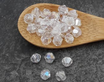 Beads faceted 4 mm white glass beads transparent AB coating