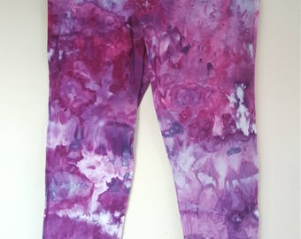 Ladies Tie Dye Full Length Leggings Shades of Purple Ice Dye Sizes 10-18, Custom Made