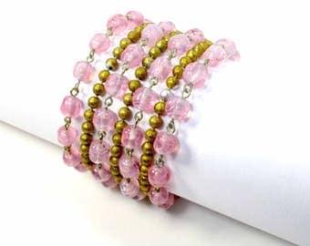 Kramer Pink Gold Bead Bracelet, Art Deco Multi Strand Women's Bracelet, Seven Strands, Vintage 1940s
