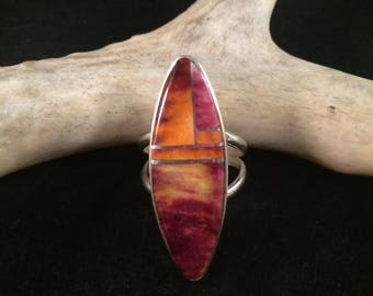 Spiny Oyster and Sterling Silver Najavo Ring