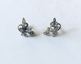 50s Vintage Screwback Rhinestone Earrings