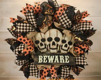Halloween Wreaths, Skull Wreath, Halloween Wreath, Primitive Halloween Wreath, Fall Wreath, Halloween Decor, Front Door Wreath, Halloween