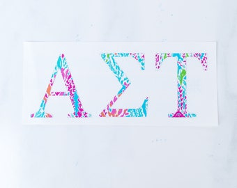 Lilly Pulitzer Sorority Stickers || Greek Letters || Sorority Decal || Sorority Sticker