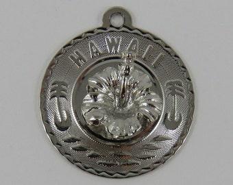 Hawaii Hibiscus Sterling Silver Vintage Charm For Bracelet